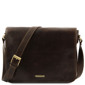 Front View Of The Dark Brown Leather Laptop Briefcase