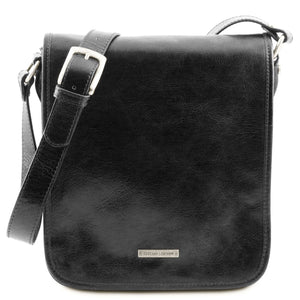 Front View Of The Black Mens Leather Shoulder Bag