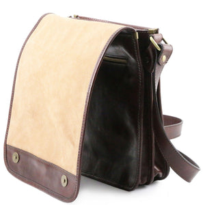 Opening Flap View Of The Brown Mens Leather Shoulder Bag
