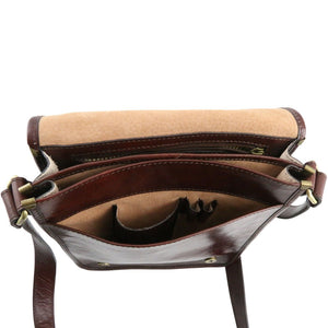Internal Compartment View Of The Brown Mens Leather Shoulder Bag