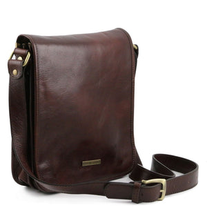 Angled View Of The Brown Mens Leather Shoulder Bag