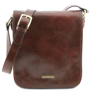 Front View Of The Brown Mens Leather Shoulder Bag