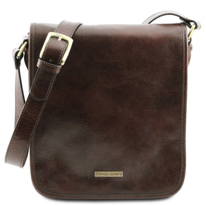 Front View Of The Dark Brown Mens Leather Shoulder Bag