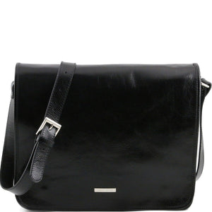 Front View Of The Black Leather Messenger Bag Men's