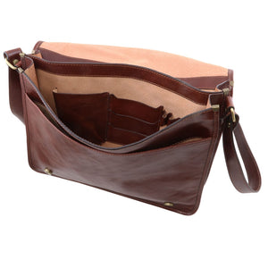 Internal View Of The Brown Leather Messenger Bag Men's