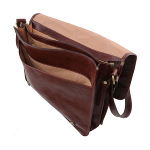 Internal Compartments View Of The Brown Leather Messenger Bag Men's