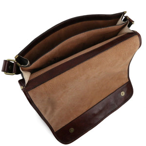 Internal Compartment Top Angled View Of The Brown Leather Messenger Bag Men's