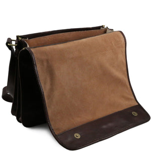 Opening And Closing Flap View Of The Brown Leather Messenger Bag Men's