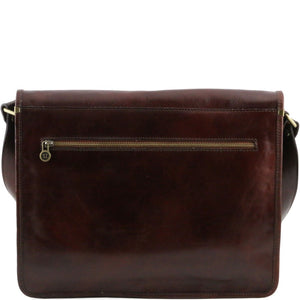 Rear View Of The Brown Leather Messenger Bag Men's