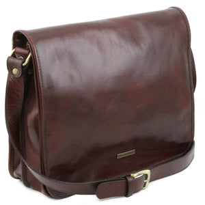 Angled View Of The Brown Leather Messenger Bag Men's