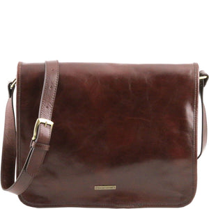 Front View Of The Brown Leather Messenger Bag Men's