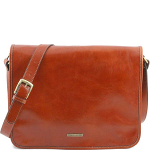 Front View Of The Honey Leather Messenger Bag Men's