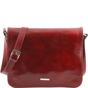 Front View Of The Red Leather Messenger Bag Men's