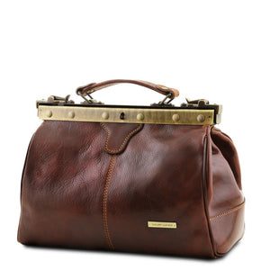 angled View Of The Brown Michelangelo Leather Bag