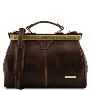 Front View Of The Dark Brown Michelangelo Leather Doctors Bag