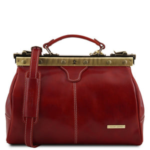 Front View Of The Red Michelangelo Leather Doctors Bag