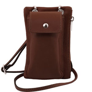 Front View Of The Brown Cellphone Holder and Mini Crossbody Bag