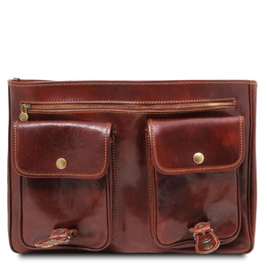 Front Pockets View Of The Brown Classic Leather Briefcase