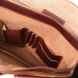 Internal Features View Of The Brown Classic Leather Briefcase