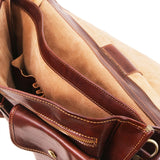 Twin Compartment View Of The Brown Classic Leather Briefcase