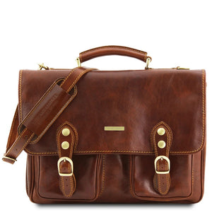 Front View Of The Brown Classic Leather Briefcase