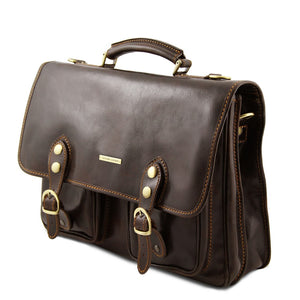 Angled View Of The Dark Brown Classic Leather Briefcase
