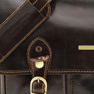 Close Up Buckle View Of The Brown Classic Leather Briefcase
