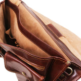 Internal Compartment View Of The Brown Large Leather Briefcase