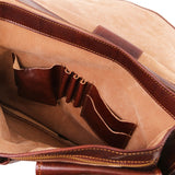 Internal Pockets And Features View Of The Brown Large Leather Briefcase