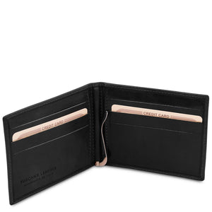 Open Wallet View Of The Black Money Clip Card Holder