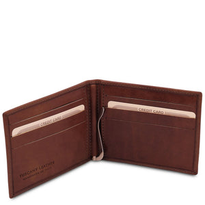 Open Wallet View Of The Brown Money Clip Card Holder