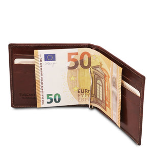 In Use With Money View Of The Brown Money Clip Card Holder