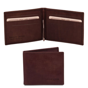 Front View Of The Dark Brown Money Clip Card Holder
