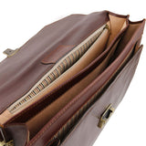 Compartments View Of The Brown Premium Leather Briefcase