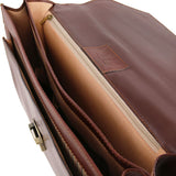 Internal Compartment View Of The Brown Premium Leather Briefcase