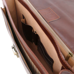 Internal Feature Pockets View Of The Brown Premium Leather Briefcase