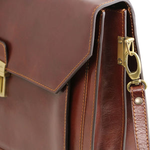 Detachable Shoulder Strap Attachment View Of The Brown Premium Leather Briefcase