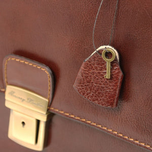Locking Key View Of The Brown Premium Leather Briefcase