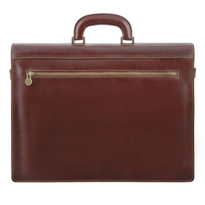Rear View Of The Brown Premium Leather Briefcase