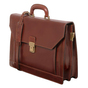 Angled View Of The Brown Premium Leather Briefcase