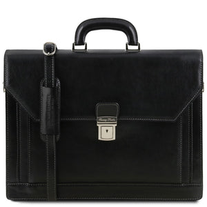 Front View Of The Black Premium Leather Briefcase