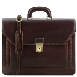 Front View Of The Dark Brown Premium Leather Briefcase