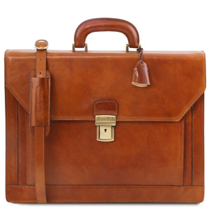 Front View Of The Honey Premium Leather Briefcase