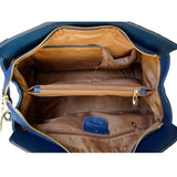 Internal View Of The Navy Blue Leather Handbag With Shoulder Strap