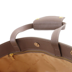 Magnetic Closure Button View Of The Dark Taupe Ladies Leather Briefcase