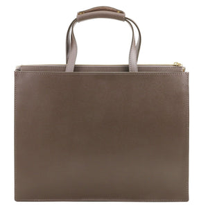 Rear View Of The Dark Taupe Ladies Leather Briefcase