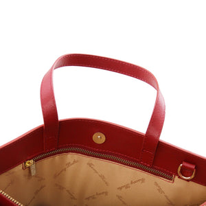 Internal View Of The Red Ladies Leather Briefcase