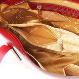 Internal Compartment View Of The Red Ladies Small Leather Handbag