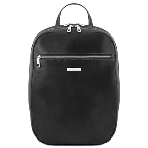 Front View Of The Black Leather Laptop Backpack
