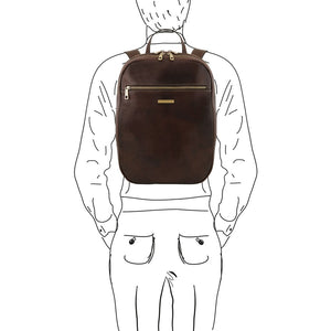 Man Posing With The Dark Brown Leather Laptop Backpack